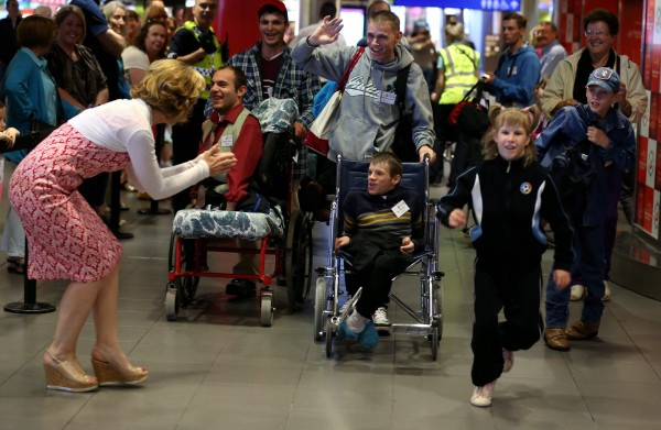 Friday, June 26, 2015: A very special group of 30 children from Belarus landed at Dublin Airport today (Friday, June 26th) as part of an urgent mercy mission by Adi Roche's Chernobyl Children International (CCI) to airlift children out of the region and away from lethal forest fires for respite care in Ireland this summer. Pictured were Adi Roche with Igor Shadzkou and children from Belarus.  Picture Jason Clarke Photography.