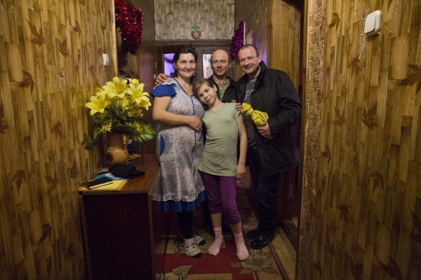 CMK02022018  REPRO FREE NO FEE   Lord Mayor of Cork, Cllr Chris O Leary with Dima and Irina Sarapas pictured with some of their foster childre in a 'Home of Hope' in Glusk, Mogilev Region, Belarus.   Irish delegation are on an official visit to Chernobyl in Ukraine and to the Chernobyl Region to see the impact of CCI and Irish generosity on the people of Belarus. The delegation includes Lord Mayor of Cork, Cllr Chris O Leary and Adi Roche voluntary CEO of Chernobyl Children International (CCI) and  Irish Ambassador to Belarus David Noonan    Picture Clare Keogh    For Further Information please contact : Fiona Maher Fundraising & Communications Manager Chernobyl Children International Mob: +353 86 2453820 Tel: +353 21 455 8774 Fax: +353 21 450 5564 Website: www.chernobyl-international.com Facebook: www.facebook.com/ChernobylChildrenInternational twitter: @Chernobyl