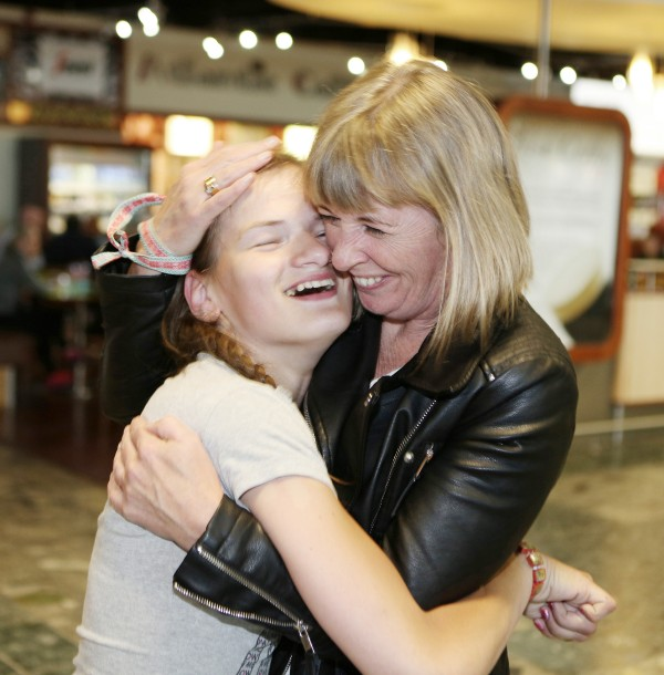 With Compliments Thursday 24th June 2016: The 30th anniversary Chernobyl group arrived in Shannon on Friday. Photographed is Rita Cullen, Kilkenny greeting Vera(27) on her arrival.  Photograph Liam Burke/Press 22