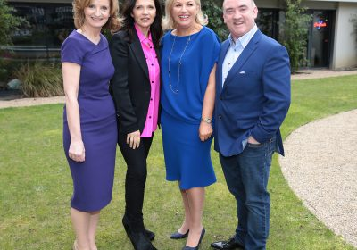 Adi Roche , Ali Hewson , Liz O Donnell and Noel Kelly at the annual fundraising lunch hosted by Liz O Donnell and Noel Kelly  for Adi Roche's Chernobyl Children International at Fire Restaurant in the Mansion House Dublin. Picture; Brian McEvoy No Repro fee for one use