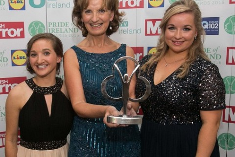 12/09/2016 Lifetime Achievement Winner  Adi Roche  who was presented her award by (L to R) Raisa Carolan & Anna Gabriel during the Pride of Ireland Awards at the Doubletree Hilton on the Burlington Road, Dublin. Photo:  Gareth Chaney Collins CC PRIDE OF IRELAND AWARDS