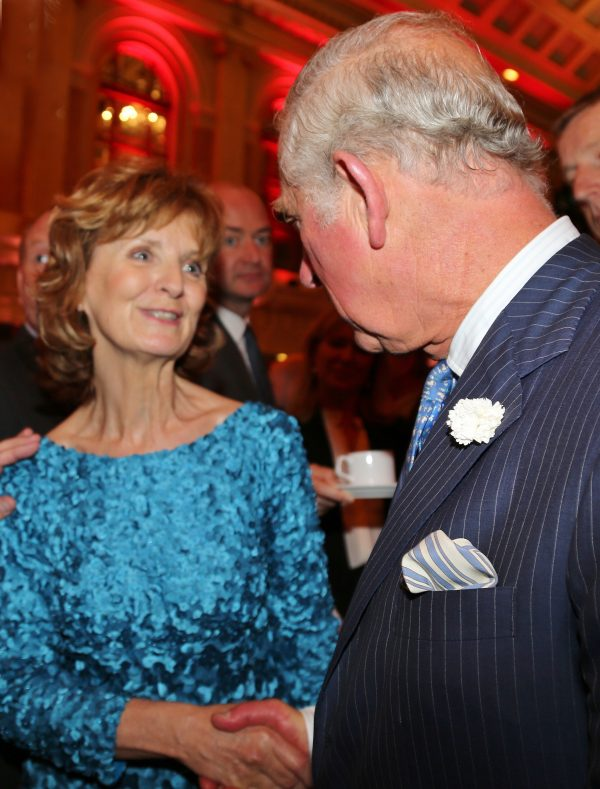 Adi Roche, Voluntary CEO of Chernobyl Children International (CCI) and recipient of Freedom of Cork City, meets with the Prince of Wales and the Duchess of Cornwall at a Civic Reception in Cork City Hall on 14 June 2018.